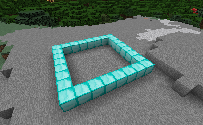 Rectangle of Minecraft diamonds blocks created in Visualmodder